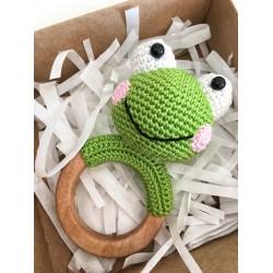 Kurbağa Diş Kaşıyıcı Çıngırak Akçaağaç Halka Amigurumi Organik Oyuncak