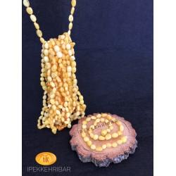 İpek Kehribar Bal Renk Yassı Kehribar Bebek Kolye Bileklik Set ipek-161